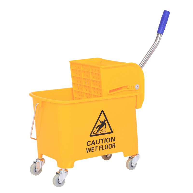 Wózek BASIC żółty z przegrodą uniwersalna wyciskarka płaska 20L