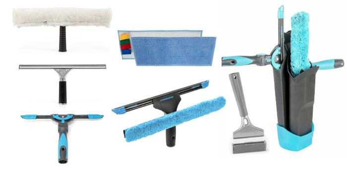 Profesjonalne akcesoria do mycia okien baranki wiadra zbieraki kabury skrobaki mopy oraz ściereczki marek TTS Moerman